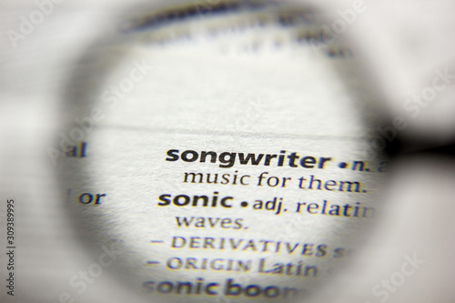 Fotografie, Obraz The word or phrase Songwriter in a dictionary.