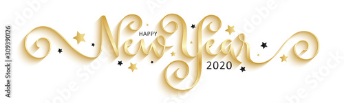 Fototapeta HAPPY NEW YEAR 2020 black and gold vector brush calligraphy banner with stars obraz