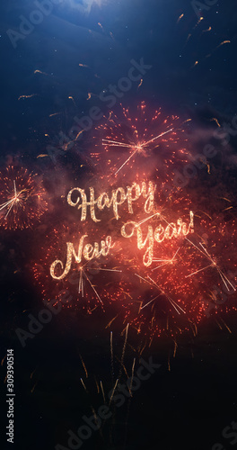 Fotografia  Happy New Year vertical greeting text with particles and sparks on black night sky with colored fireworks on background, beautiful typography magic design, portrait orientation