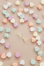 Gold Heart Stud Earrings With ...