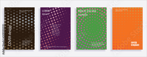 Fototapeta Minimalistic cover design templates. Layout set for covers of books, albums, notebooks, reports, magazines. Star, dot halftone gradient effect, flat modern abstract design Geometric mock-up texture obraz na płótnie
