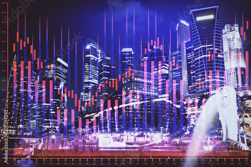 Photo  Financial chart on city scape with tall buildings background multi exposure