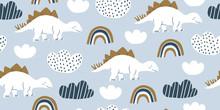 Scandinavian Dino Dinosaur Seamless Pattern