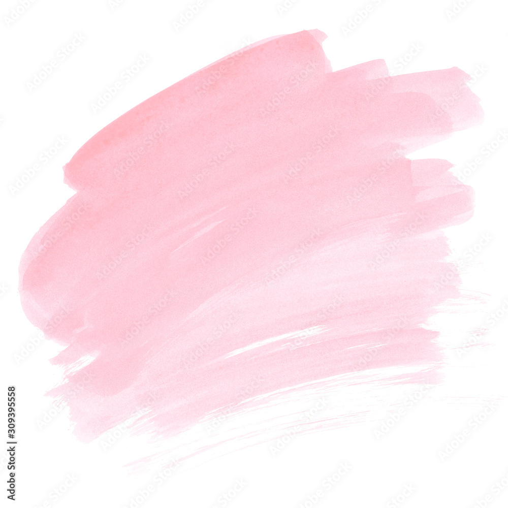 Fototapeta Pink watercolor stain Soft paint ombre brush strokes Blush abstract gradient Invitation card background