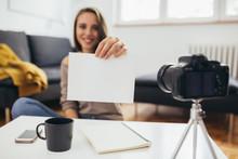 Woman Vlogger Making Online Vi...