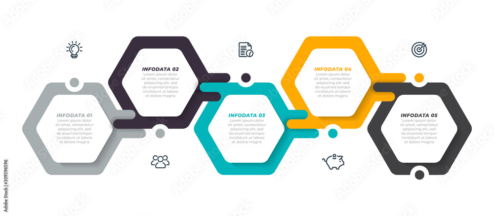 Fototapeta Vector infographic label design template with modern hexagon layout. Business concept with 5 steps, options.