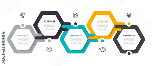 Vector infographic label design template with modern hexagon layout. Business concept with 5 steps, options.
