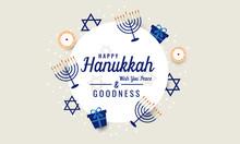 Happy Hanukkah Greeting Card . Vector Illustration.