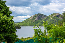 View Of The Bubbles From Jordan Pond House In Acadia National Park, Maine