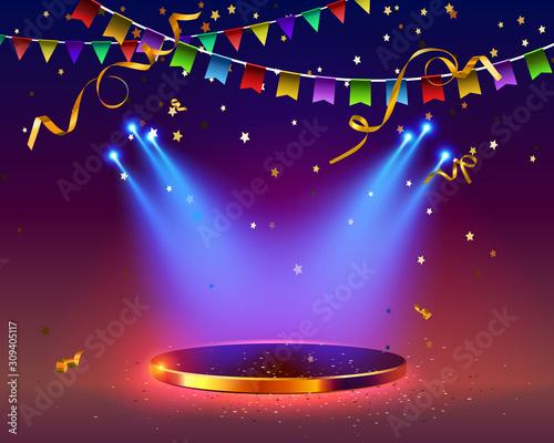 Fototapeta Festive festival background. podium scuttled by spotlights.