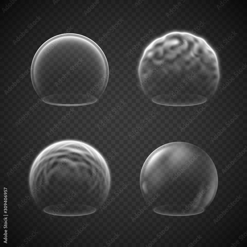 Fototapeta Energy shield effects isolated on transparency grid, a set of various force screens, defense or protective fields, deflector, force bubble, science fiction element or metaphor of high protection