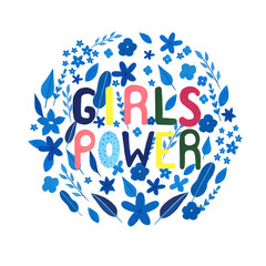Girl power motivation text. Hand drawn watercolor, gouache  motivation, inspiration phrase. Perfect for print, card. Female power.