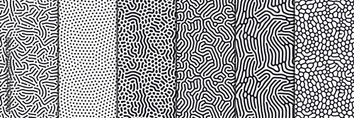 Fotografía Set of organic seamless patterns with rounded lines, drips