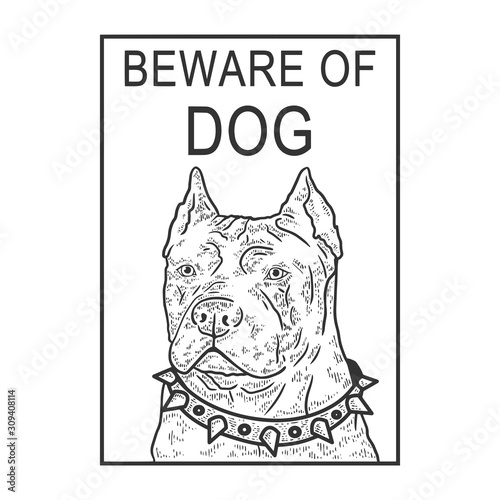 Beware of angry dog plate sketch engraving vector illustration Canvas Print