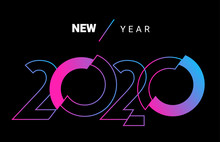 Vector Creative Neon Color Illustration Of Happy New Year 2020 Design. Template With Number 2020 On Black Background.
