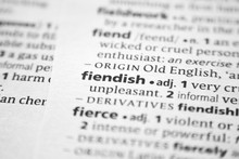 Word Or Phrase Fiendish In A Dictionary.