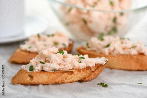 Obraz na plátně  Appetizer pate  salmon with soft cheese