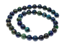 Spiral String Of Beads From Natural Azurite Gems
