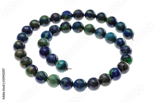 Fotografiet spiral string of beads from natural azurite gems