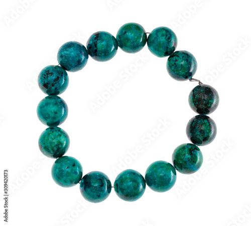 Fotografiet string of beads from natural chrysocolla gemstone