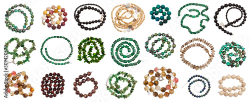 Fotografie, Obraz set of various coiled strings of beads isolated