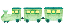 Watercolor Hand Painted Transport Children Toy Composition With Green Thain With Yellow Windows And Blue Roof And Wheels On The White Background For Baby Design Elements Game