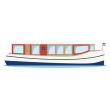 River Boat, River Bus, Canal Ferry.  Cartoon Vector Illustration