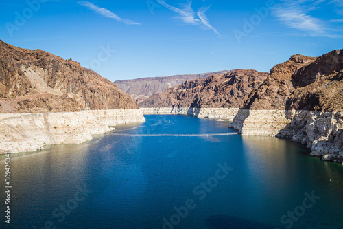 Photo Looking into Lake Meade from the Hoover dam with the bleached high waterline of the dam