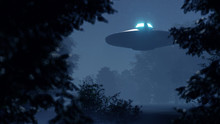 3d Ufo Flew Over The Wild Fore...