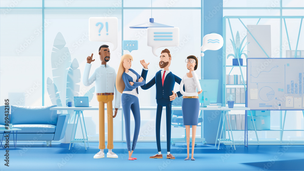Fototapeta Business People Group Chat Communication Bubble. 3d illustration.  Cartoon characters. Business teamwork concept.