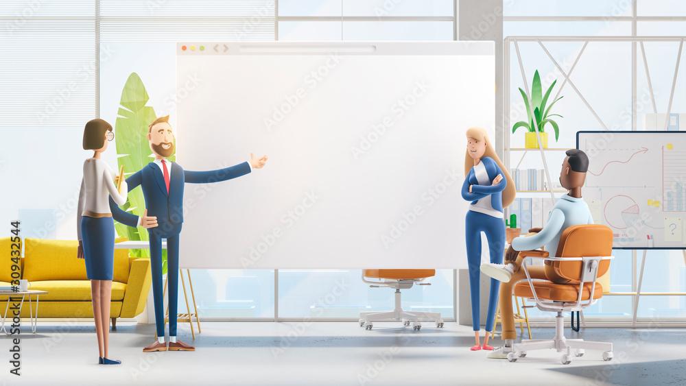 Fototapeta web develop and web design team . 3d illustration.  Cartoon characters. Business teamwork concept.