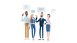 canvas print picture - Business People Group Chat Communication Bubble. 3d illustration.  Cartoon characters. Business teamwork concept.