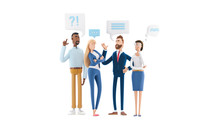 Business People Group Chat Communication Bubble. 3d Illustration.  Cartoon Characters. Business Teamwork Concept.