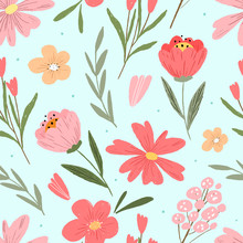 Hand Drawn Floral Seamless Pat...
