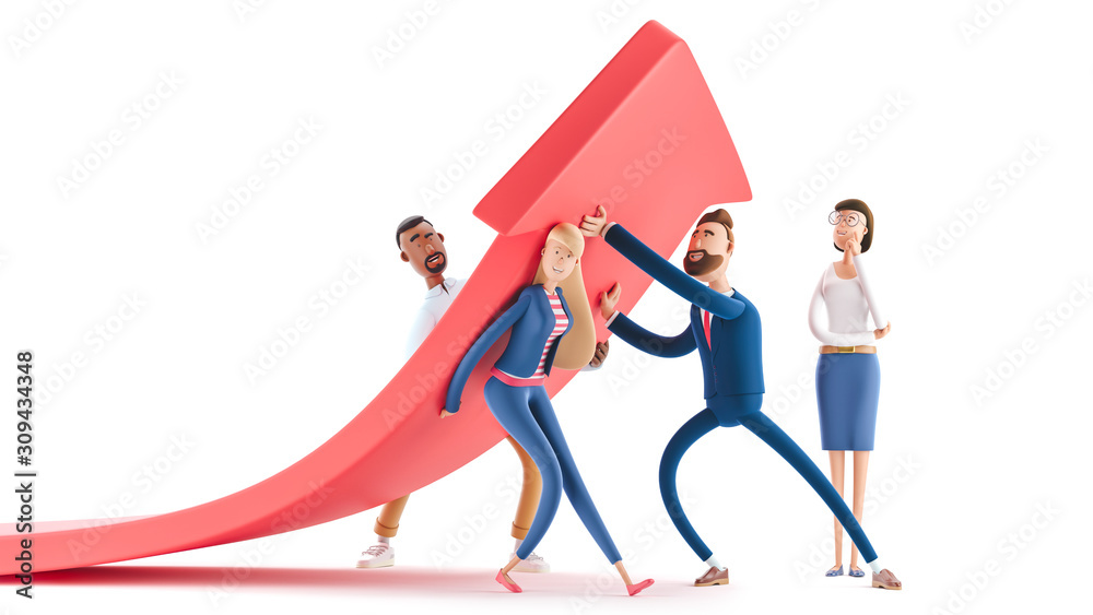 Fototapeta Change of a direction, planning new strategy. 3d illustration.  Cartoon characters. Business teamwork concept.