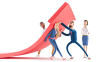 Change Of A Direction, Planning New Strategy. 3d Illustration.  Cartoon Characters. Business Teamwork Concept.