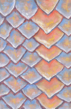 Original Hand Drawn Pattern Of Scales Made With Soft Pastel