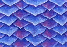 Original Hand Drawn Pattern Of Blue Bright Scales Made With Soft Pastel