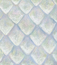 Original Hand Drawn Pattern Of White Scales Made With Soft Pastel