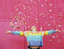 Teen Girl With Rainbow Stripes...
