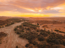 A Drone Shot Of A River Bed In The Desert Of Namibia