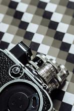 8mm Camera On Geometric Backgr...