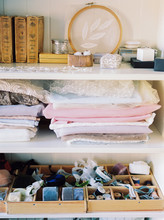 Rack With Fabrics And Sewing A...