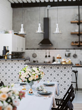 Kitchen And Beautiful Table Se...