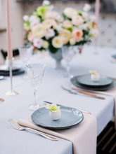 Kitchen And Beautiful Table Set In Room. Beautiful Table Setting For Easter