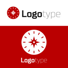 Red Compass Icon Isolated On White Background. Windrose Navigation Symbol. Wind Rose Sign. Logo Design Template Element. Vector Illustration