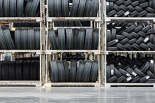 New Tires Stacked At A Warehouse