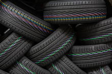 Stack Of New Tires At A Wareho...