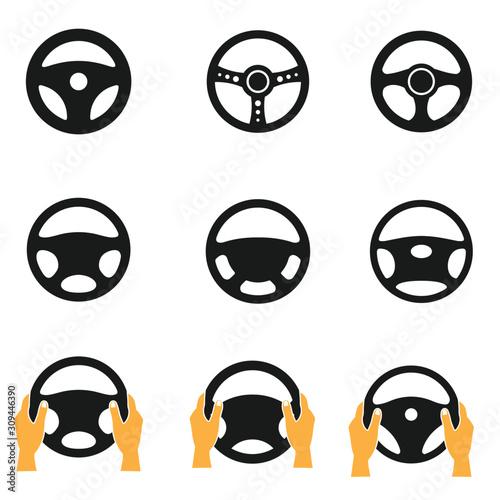 Fotografija Car steering wheel vector icon, simple logo vector illustration for graphic and web design