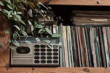 Vintage Radio Cassette Recorder With Vinyl Records